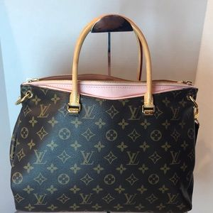Louis Vuitton Monogram Pallas MM Rose Handbag Tote